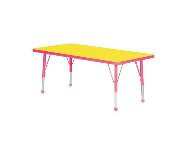 Mahar Kids Classroom Play Activity Self-Leveling Nickel Glide Adjustable Fuchsia Edge Rectangle Table Yellow Toddler Leg Height 16