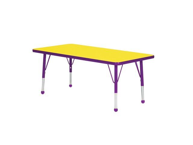 Mahar Kids Classroom Play Activity Self-Leveling Nickel Glide Adjustable Purple Edge Rectangle Table Yellow Toddler Leg Height 16