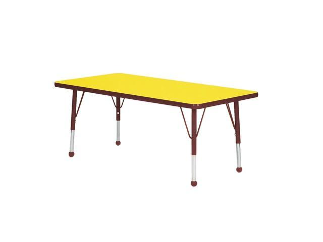 Mahar Kids Playschool Daycare Activity Rectangle Burgundy Edge Table Yellow Self-leveling Nickel Glide Standard Leg Height 21