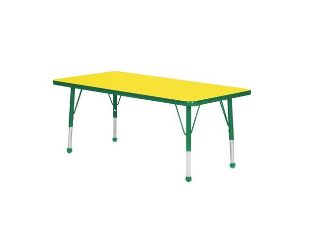 Mahar Kids Playschool Daycare Activity Dustin Green Edge Rectangle Table Yellow Self-leveling Nickel Glide Toddler Leg Height 16