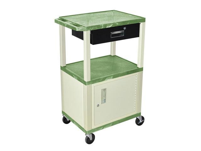 H Wilson WT42C3E/WTD Tuffy Cart Green with Cabinet 3 Shelves Putty Legs with Drawer