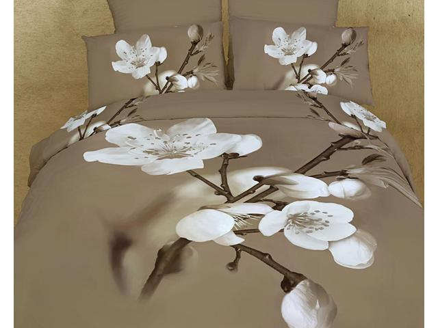 Dolce Mela Home Indoor Queen Bed Modern Bedding Floral Duvet Cover Set DM420Q