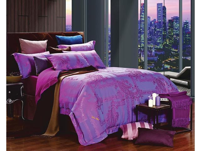 Dolce Mela DM471K Jacquard Damask Luxury Bedding King Duvet Cover Set