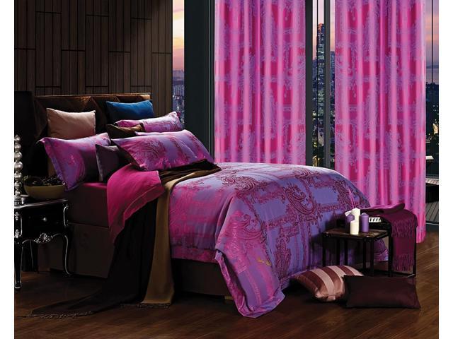 Dolce Mela Home DM471Q Jacquard Damask Luxury Bedding Queen Duvet Cover Set