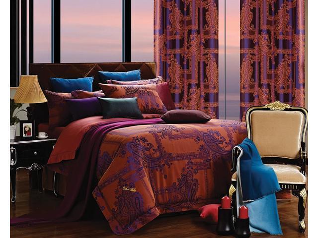 Dolce Mela Home DM472Q Jacquard Damask Luxury Bedding Queen Duvet Cover Set