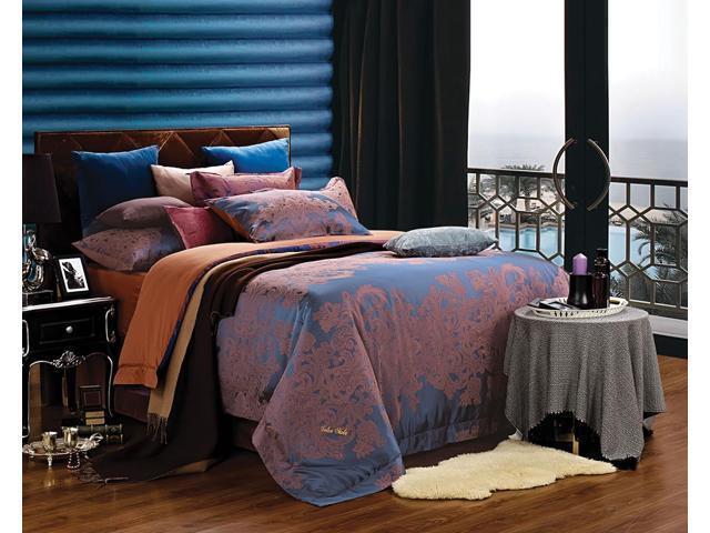 Dolce Mela DM473K Jacquard Damask Luxury Bedding King Duvet Cover Set