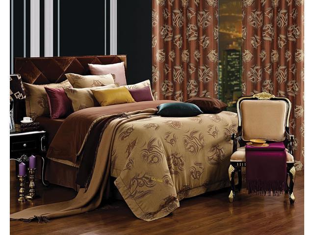 Dolce Mela Home DM474Q Jacquard Damask Luxury Bedding Queen Duvet Cover Set