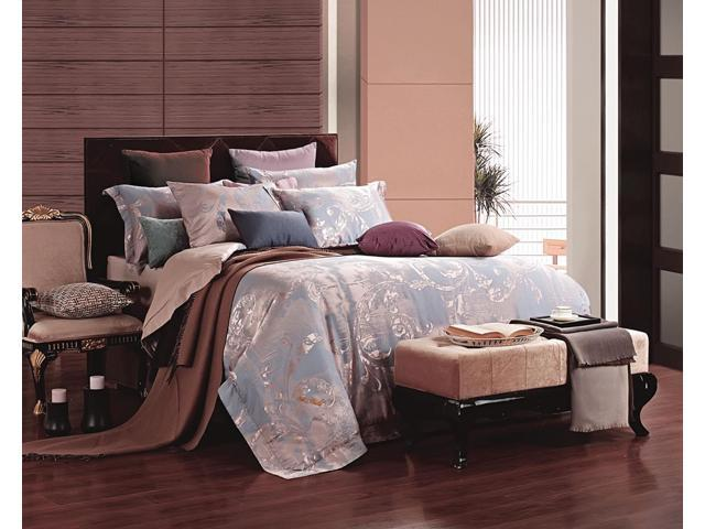 Dolce Mela DM475K Jacquard Damask Luxury Bedding King Duvet Cover Set