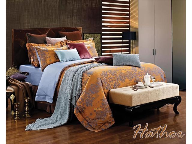 Dolce Mela Home DM476Q Jacquard Damask Luxury Bedding Queen Duvet Cover Set
