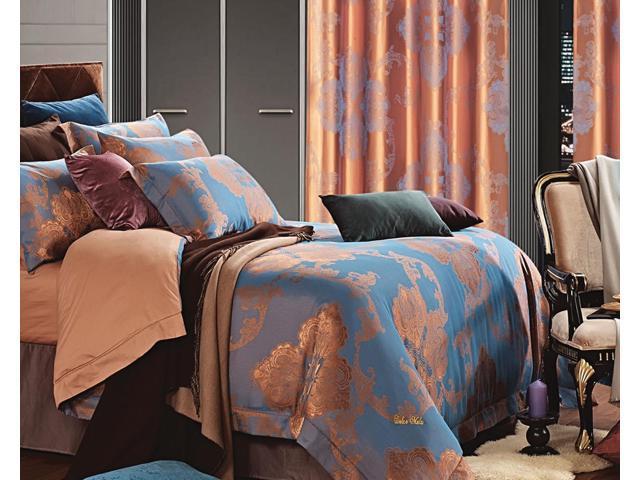 Dolce Mela Home DM477Q Jacquard Damask Luxury Bedding Queen Duvet Cover Set
