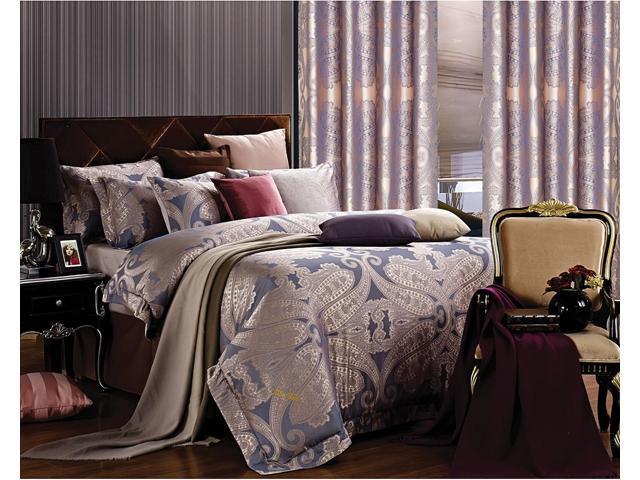 Dolce Mela Home DM478Q Jacquard Damask Luxury Bedding Queen Duvet Cover Set