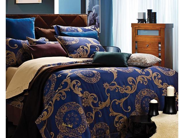 Dolce Mela DM479K Jacquard Damask Luxury Bedding King Duvet Cover Set