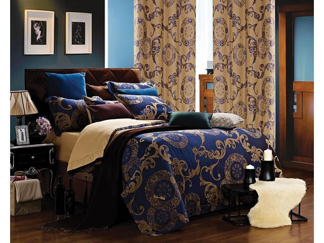 Dolce Mela Home DM479Q Jacquard Damask Luxury Bedding Queen Duvet Cover Set