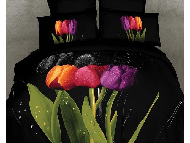 Dolce Mela Home Indoor King Bed Black Modern Bedding Duvet Cover Set DM416K