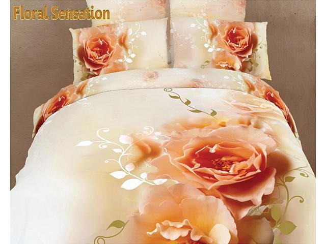 Dolce Mela Home Indoor Queen Bed Modern Bedding Floral Duvet Cover Set DM438Q