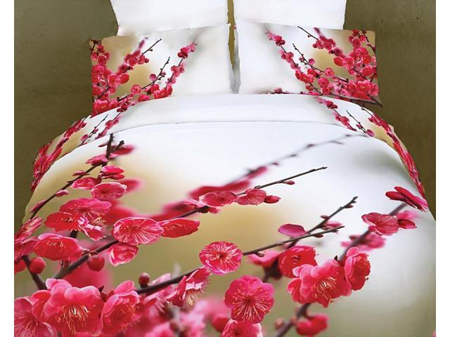 Dolce Mela Home Indoor Queen Bed Modern Bedding Floral Duvet Cover Set DM443Q