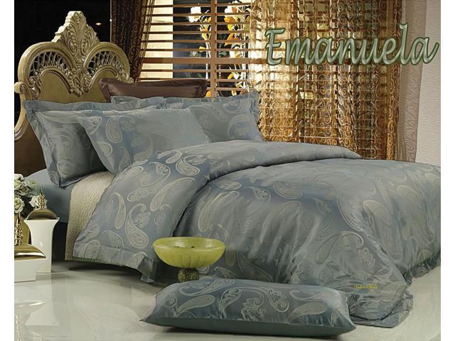 Jacquard Luxury Linens Queen Bedding Duvet Cover Set Dolce Mela DM447Q