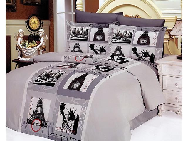 Le Vele Home Indoor Full Queen Modern City Theme Bedding Duvet Cover Set LE90Q