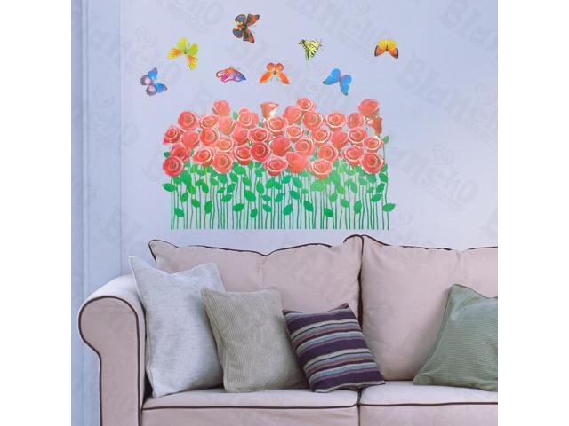 Home Kids Imaginative Art Rosebush And Butterflies - Large Wall Decorative Decals Appliques Stickers