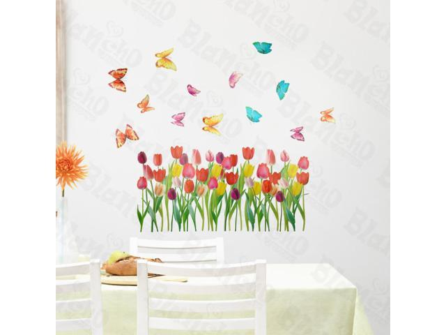 Home Kids Imaginative Art Tulipa And Butterflies - Large Wall Decorative Decals Appliques Stickers
