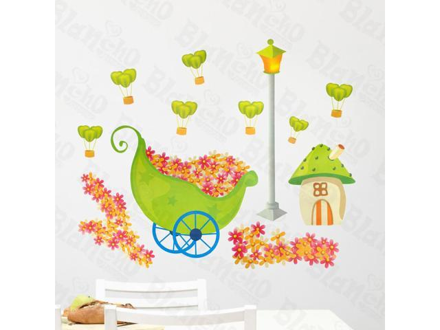 Home Kids Imaginative Art Flowers And House - Wall Decorative Decals Appliques Stickers