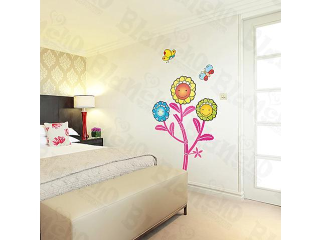 Home Kids Imaginative Art Dancing Sunflowers - Large Wall Decorative Decals Appliques Stickers