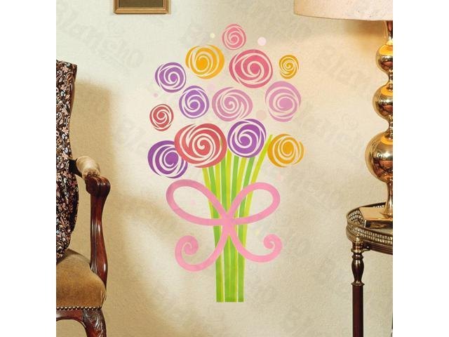 Home Kids Imaginative Art Colorful Bouquet - Wall Decorative Decals Appliques Stickers