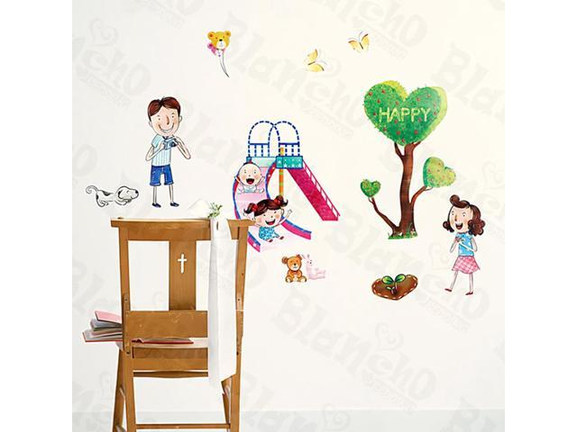 Home Kids Imaginative Art Happy - Medium Wall Decorative Decals Appliques Stickers