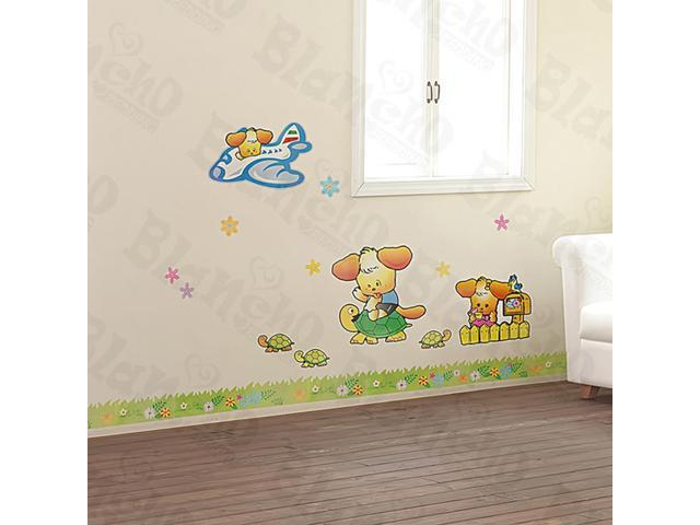 Home Kids Imaginative Art Three Doggies - Large Wall Decorative Decals Appliques Stickers