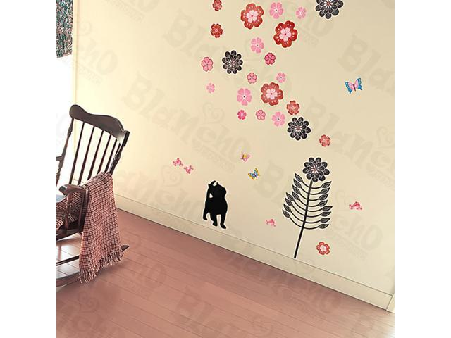 Home Kids Imaginative Art Cat And Flowers - Large Wall Decorative Decals Appliques Stickers