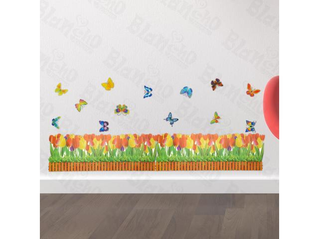 Home Kids Imaginative Art Butterfly And Flowering Shrubs - Wall Decorative Decals Appliques Stickers