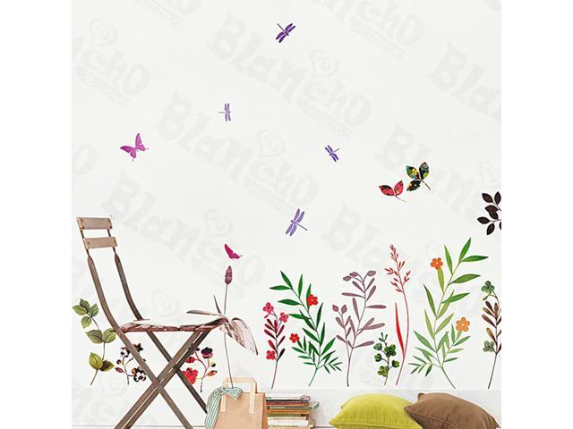 Home Kids Imaginative Art Palms And Flowers - Large Wall Decorative Decals Appliques Stickers