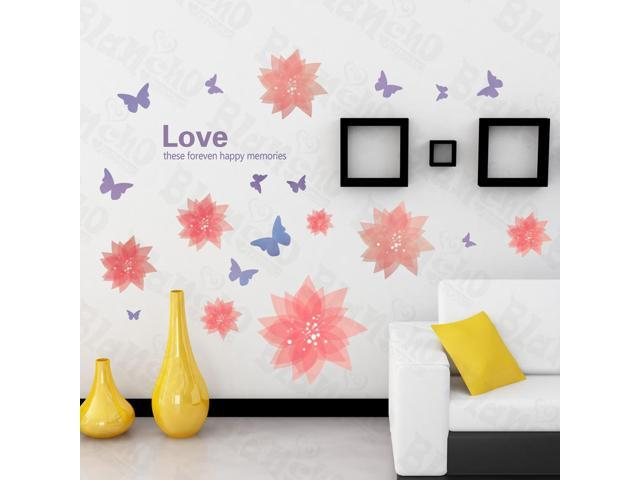 Home Kids Imaginative Art Romantic Flower - Large Wall Decorative Decals Appliques Stickers
