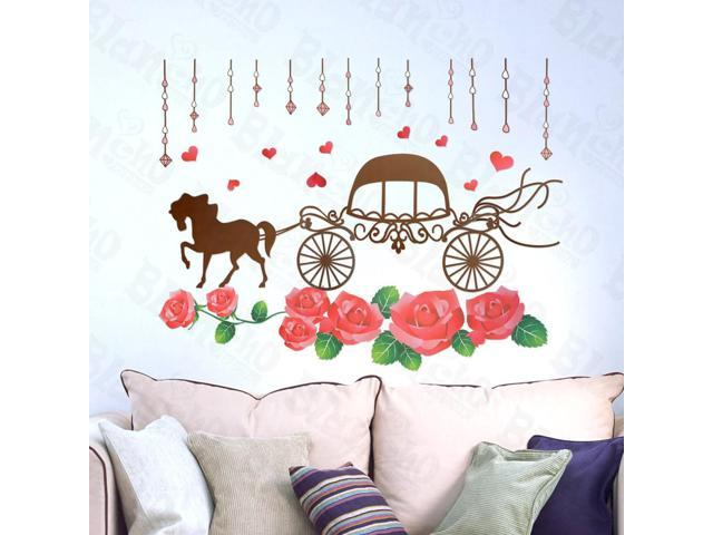 Home Kids Imaginative Art Romantic Carriage - Large Wall Decorative Decals Appliques Stickers
