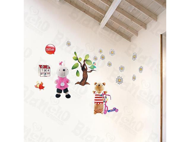 Home Kids Imaginative Art Rabbit And Bear - Medium Wall Decorative Decals Appliques Stickers
