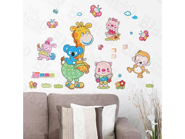 Home Kids Imaginative Art Animal Friends-1 - Medium Wall Decorative Decals Appliques Stickers