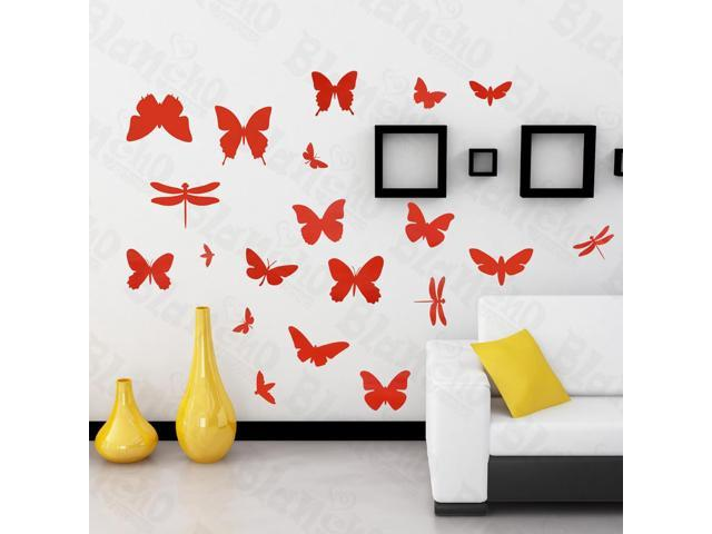 Home Kids Imaginative Art Fluttering Butterflies - Large Wall Decorative Decals Appliques Stickers