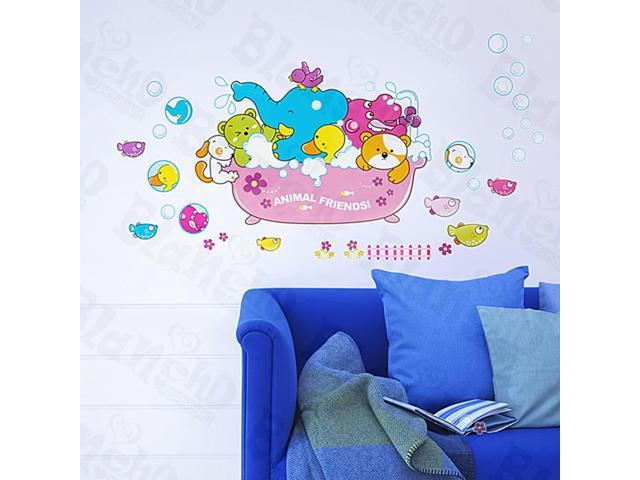 Home Kids Imaginative Art Animal Friends-2 - Medium Wall Decorative Decals Appliques Stickers
