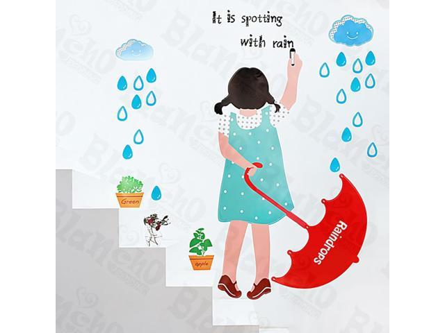 Home Kids Imaginative Art Rainy Girl - Large Wall Decorative Decals Appliques Stickers