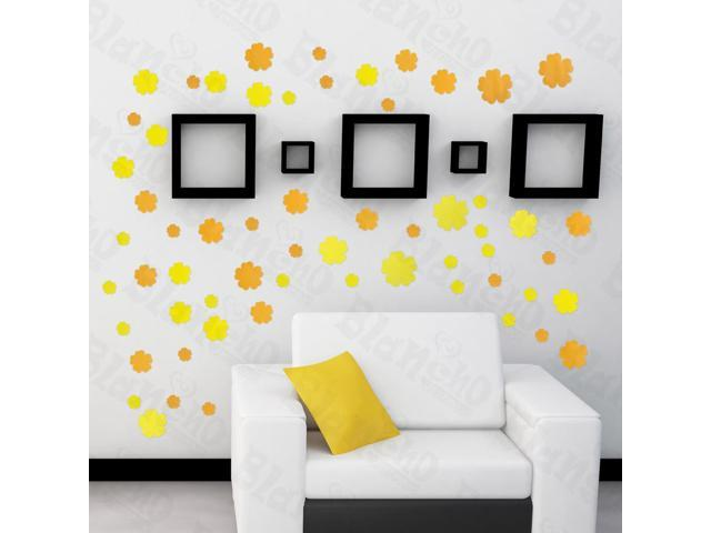 Home Kids Imaginative Art Summer Flowers - Large Wall Decorative Decals Appliques Stickers