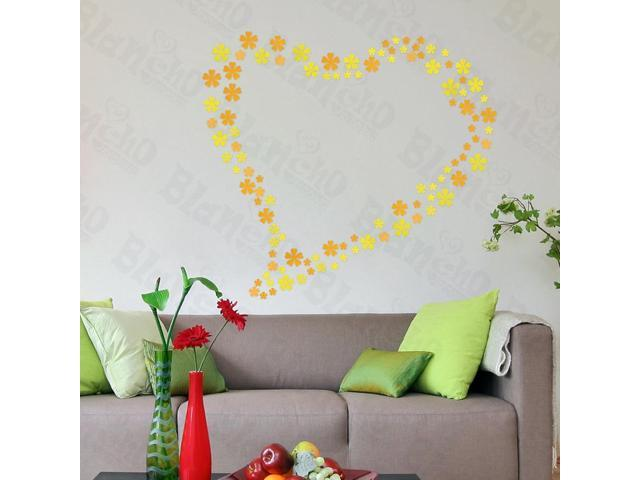 Home Kids Imaginative Art Yellow Floral Heart - Large Wall Decorative Decals Appliques Stickers