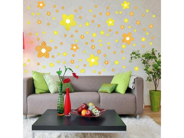 Home Kids Imaginative Art Yellow Floral Design - Large Wall Decorative Decals Appliques Stickers