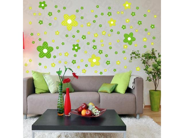 Home Kids Imaginative Art Green Floral Design - Large Wall Decorative Decals Appliques Stickers
