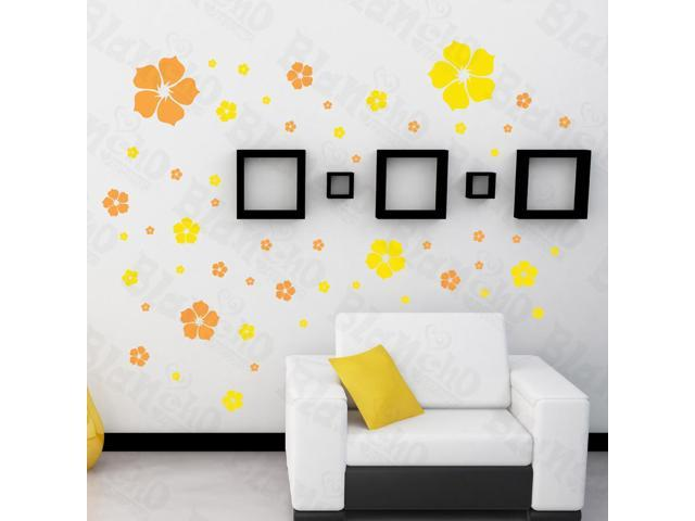Home Kids Imaginative Art Pink Warm Flower - Large Wall Decorative Decals Appliques Stickers