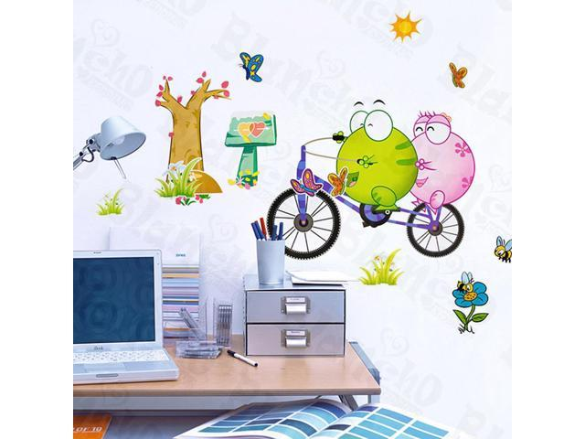 Home Kids Imaginative Art Bicycling 2 - Large Wall Decorative Decals Appliques Stickers