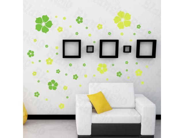 Home Kids Imaginative Art Yellow Warm Flower - Large Wall Decorative Decals Appliques Stickers