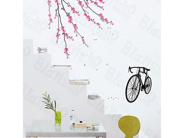 Home Kids Imaginative Art Bike And Flowers - Large Wall Decorative Decals Appliques Stickers