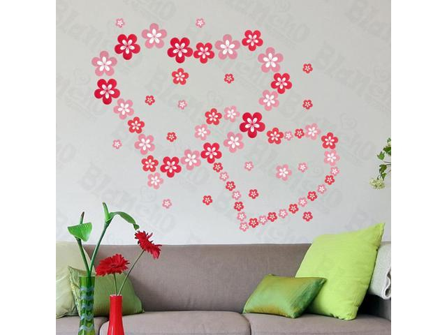 Home Kids Imaginative Art Pink Blossoming Flowers - Large Wall Decorative Decals Appliques Stickers