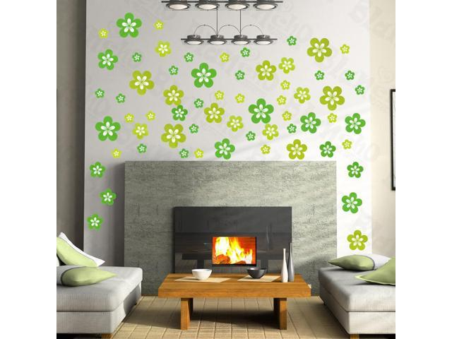 Home Kids Imaginative Art Green Blossoming Flowers - Large Wall Decorative Decals Appliques Stickers