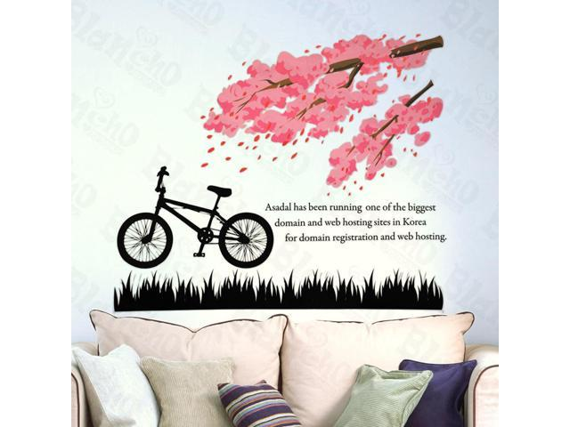 Home Kids Imaginative Art Flowering Cherry Tree - Large Wall Decorative Decals Appliques Stickers
